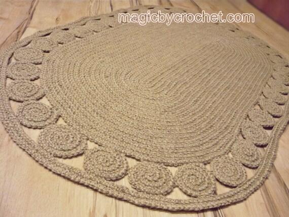 Tapis Ovale Tapis Unique Tapis Au Crochet Tapis Tresse Etsy