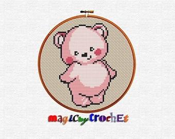 Cross stitch graph, Nursery cross stitch, PDF download, Beginner pattern, Cute bear, No.053