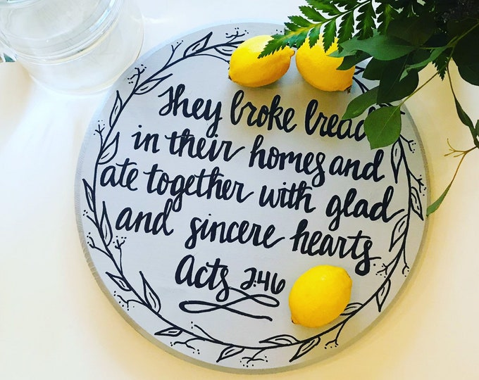 Lazy Susan Serving Tray with Scripture - Acts 2:46 | Tabletop Decor