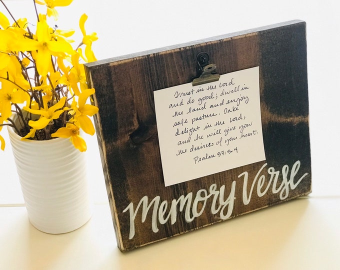 Handcrafted Memory Verse Display