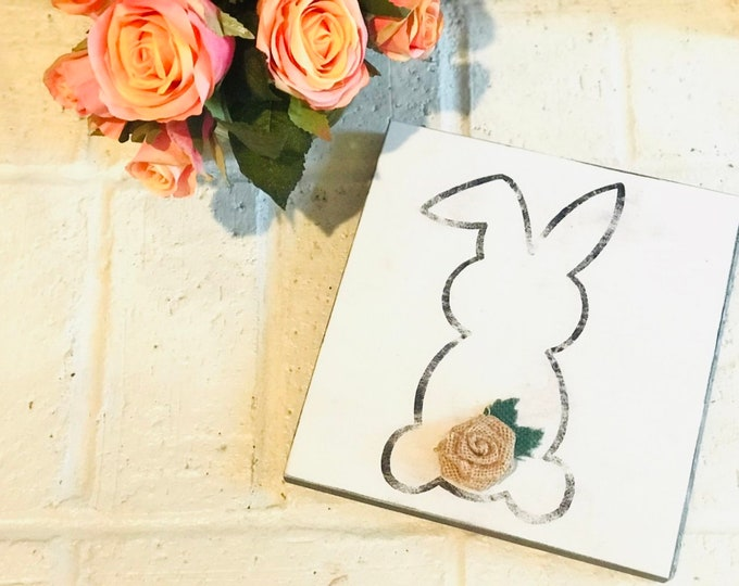Handcrafted Solid Pine Wood Sign - Easter Bunny with Burlap Flower Detail