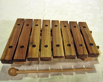 Xylophone made out of walnut and maple