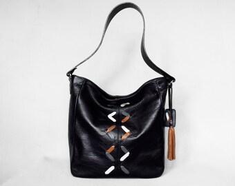 Black leather hobo bag. Black leather shoulder bag. Leather lacing bag.