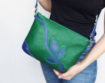 Green leather bag, Green blue leather purse, Apllique leather clutch.