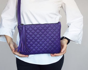 Purple quilted leather cross body bag. Small leather handbag leather. Leather clutch purple tassel purse.