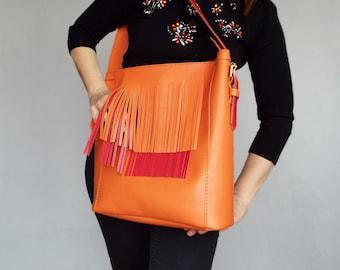 Leather bag orange red. Fringe hobo leather orange shoulder bag.