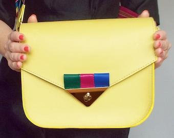 Yellow leather messenger bag. Colorful crossbody purse.  Small shoulder bag natural leather. Lemon leather  bag.