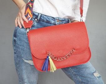 Messenger leather bag red. Apple red crossbody purse.  Medium shoulder bag bright strap tassel. Persian red bag.