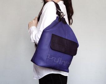 Leather backpack. Purple leather rucksack. One Strap Backpack. Woman rucksack leather. Small leather backpack. Brown green shoulder bag.