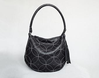 Leather hobo bag black. Embroidered slouchy leather black shoulder bag.