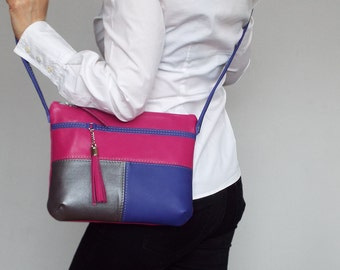 Cross body leather bag . Bright fuchsia, purple, silver small shoulder purse.