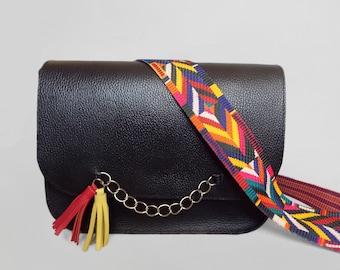 Messenger leather bag black. Black crossbody purse.  Medium shoulder bag bright strap tassel..