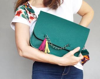 Messenger leather bag teal. Green crossbody purse.  Medium shoulder bag bright strap tassel..