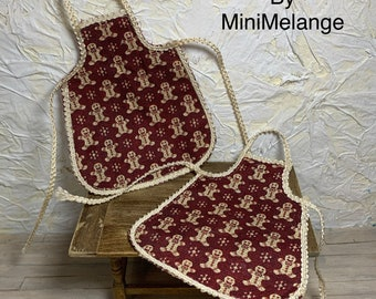 Dollhouse Gingerbread Apron for Christmas in One Inch Scale
