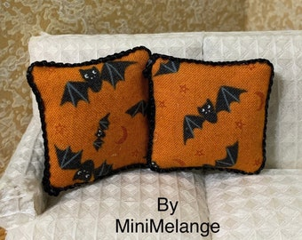 Set of Halloween pillows for a Dollhouse in One inch Scale