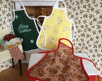 Choice of 3 Different Aprons in One Inch Scale for Your Dollhouse Kitchen