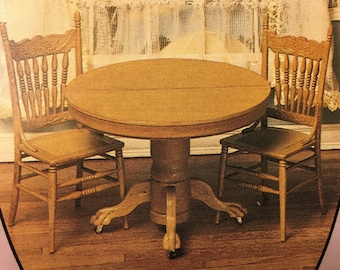 Kit for an Oak Table and Two Cane Seat Chairs For A One Inch Scale Dollhouse