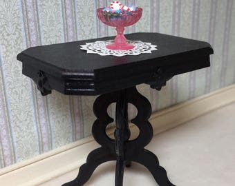 Black Victorian Style Table for a One Inch Scale Dollhouse with a Fancy Paper Doily Included