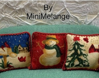 Set of Three Winter Pillows With a Country Flair Printed with Three Different Wnter Scenes in One Inch Scale