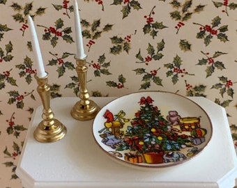 DOLLHOUSE  -  Handcrafted Christmas Ceramic Plate or Choice of a Set of Candles in One Inch Scale for a Dollhouse