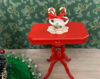 Choice of a Decorated Christmas Tree, a Red Table or a Holly Sugar Bowl for a Dollhouse