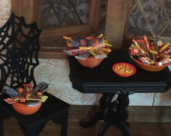 Choice of Dollhouse Halloween Candy in an Orange Wicker Bowl, Lg or Med Bowls, an Orange Jack o Lantern or Ghost Pot, or a Cauldron