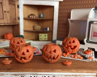 Choice of Jack o Lantern Prep Sets or Individual Pumpkins in One Inch Scale for a Halloween Dollhouse