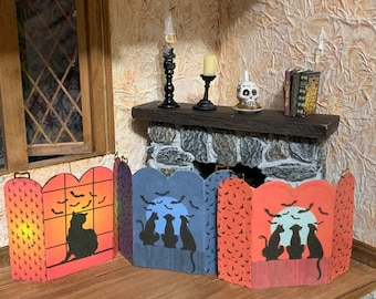 Choice of Decorative Halloween Firescreens for a Fireplace in a One Inch Scale Dollhouse or Halloween Scene