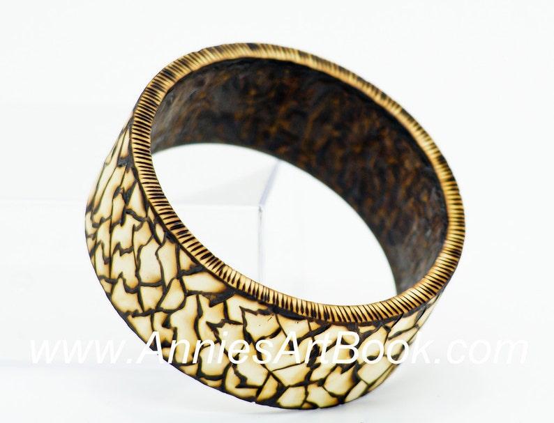 Woodburned Bracelet/ Wood Bangle/Wood jewelry image 0