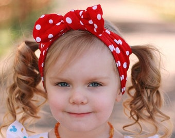 Red Dot Baby Headwrap/ Baby Head Wraps/ 4th of July Outfit/ Baby Bow Headband/ Toddler Headwrap/ Baby Headband Bows/ Newborn Girl/ Baby Gift