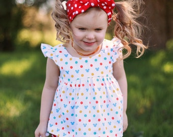 Red Dot Baby Headwrap Set/ 4th of July Outfit/ Headwrap Baby Set/ Headband Adult Knot/ Headband Knot Adult/ Boho Baby Headwrap