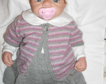 skirt with suspenders, short sleeves and long sleeves Cardigan size 3 months