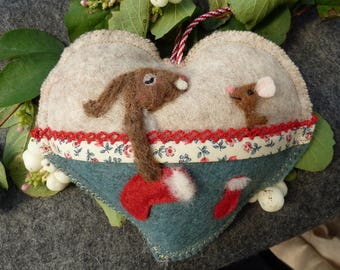 Night before Christmas needle felted rabbits with their stockings, felted heart -felted heart gift, scented / personalised - first Christmas