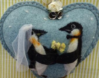 Wedding PENGUINS Personalized Wedding gift, custom bridal gift Congratulations Heart decoration - needle felted love birds