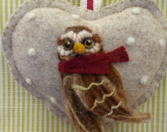 Owl - Wise old owl needle felted hanging heart with message scented with spices,personalised