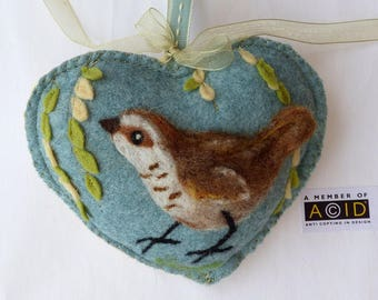 Felted wren bird with willow, Personalised Heart hanging decoration, needle feltedbird on scented heart, personalised with name / words