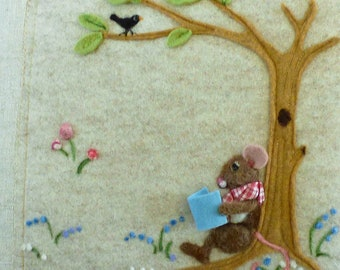 Childs room pillow - needle felted Mouse reading in the woods country design - wool rabbit decoration