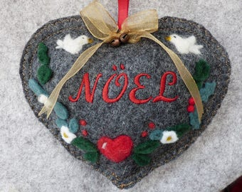 Personalised Christmas Heart - Needle felted Winter garland on a heart with two white turtle doves -felted heart gift, scented
