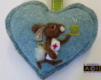 Get well Soon Felted nurse bunny bring a cup of tea - soup, Personalised felt Heart hanging decoration, needle felted teddy - scented heart
