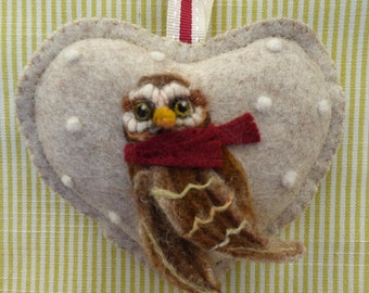 Needle felted OWL personalised heart / customized gift Summer or Winter designs