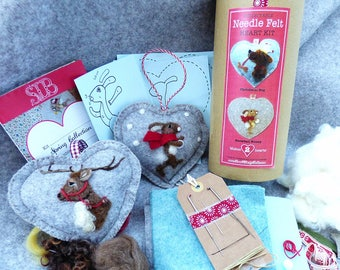 Festive Dog and Snow Bunny Needle felt heart kit, All you need to make two needle felt heart ornaments- felting kit Sweet Liberty Belle