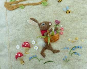 Childs room pillow - needle felted Rabbit in the woods country design - wool rabbit decoration