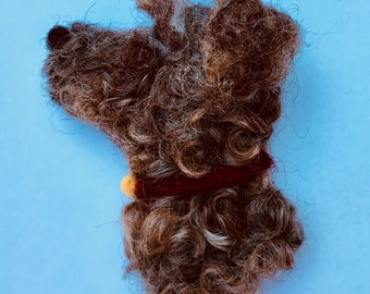 Dog Brooch , needle felted puppy dog Badge - handmade your own pet available