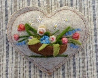 Mother's gift country garden basket Personalised Heart hanging decoration, needle felted flowers personalised with name / words