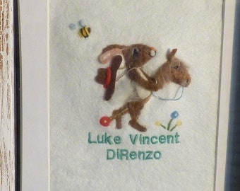 BOYS Room three D felted animal picture framed custom and personalised, felted rabbit on a hobby horse