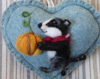 Needle felted BADGER personalised heart / customized gift Summer or Winter designs