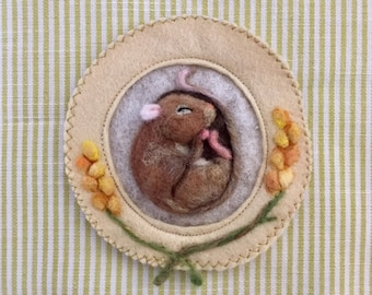Sleeping mouse - needle felt sculpture with hanging ribbon, scented with lavender or rose petals - personalised