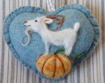Needle felted Goat and pumpkin personalised heart / customized gift Summer or Winter designs