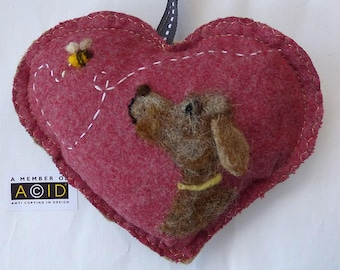 BEEcause I LOVE you, felted dog heart gift, Personalised felt Heart hanging decoration, needle felted dog - scented heart