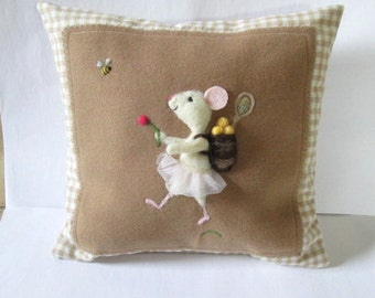 Needle felted girl tennis mouse throw pillow. Sofa pillow, Bed pillow. White mouse,  personalized, choose your  sport or activity.